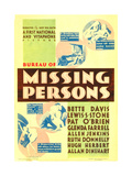 BUREAU OF MISSING PERSONS, midget window card, 1933. Poster