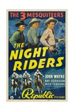THE NIGHT RIDERS, Max Terhune, Ray Corrigan, John Wayne, movie poster art, 1939. Prints