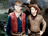 RED RIVER, from left: John Wayne, Montgomery Clift, 1948 Prints