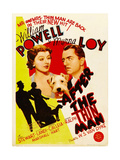 AFTER THE THIN MAN, from left: Myrna Loy, Asta, William Powell on midget window card, 1936 Giclee-tryk i høj kvalitet