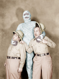 ABBOTT AND COSTELLO MEET THE MUMMY, from left: Bud Abbott, Eddie Parker, Lou Costello, 1955 Print