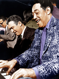 ANATOMY OF A MURDER, from left: James Stewart, Duke Ellington, on set, 1959 Prints