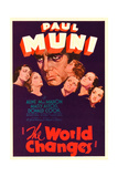 THE WORLD CHANGES, center: Paul Muni on midget window card, 1933. Poster