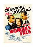 A WOMAN'S FACE, from left: Conrad Veidt, Joan Crawford, Melvyn Douglas on midget window card, 1941. Print