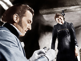 THE CURSE OF FRANKENSTEIN, from left: Peter Cushing, Christopher Lee, 1957 Photo