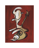 Red Guitarist Giclee Print by Christian Pavlakis