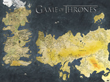 Games of Thrones (Metallic Map) Prints