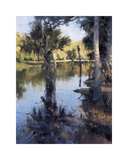 Palms on Water I Giclee Print by Larry Moore