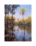 Palms on Water II Giclee Print by Larry Moore