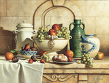Italian Still Life with Green Grapes Print on Canvas by Loran Speck