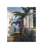 Bougainvillea and Palm Trees Giclee Print by Poch Romeu