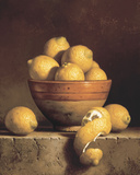 Lemons in a Bowl with Peel Print on Canvas by Loran Speck