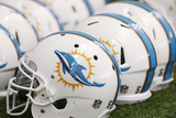 Dolphins Camp Football: Miami Dolphins Helmets Photo by Wilfredo Lee