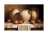 Urns with Persimmons and Pomegranates Giclee Print by Loran Speck