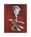 Woman with Guitar Giclee Print by Christian Pavlakis