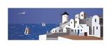 Molino en Santorini Giclee Print by Vicenc Curtó