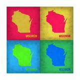 Wisconsin Pop Art Map 1 Poster by  NaxArt