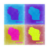 Wisconsin Pop Art Map 3 Print by  NaxArt
