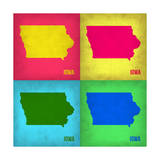 Iowa Pop Art Map 1 Prints by  NaxArt