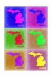 Michigan Pop Art Map 2 Print by  NaxArt