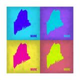 Maine Pop Art Map 2 Print by  NaxArt