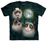 Three Grumpy Cat Moon Shirts