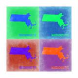 Massachusetts Pop Art Map 2 Print by  NaxArt