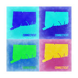 Connecticut Pop Art Map 2 Poster by  NaxArt