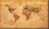 Carte du monde antique Reproduction transférée sur toile