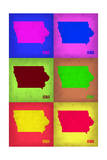 Iowa Pop Art Map 2 Prints by  NaxArt