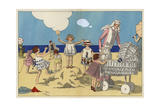 Children in Beach-wear with Nanny Building Sandcastles From Art, Gout, Beaute 1923 Giclee Print