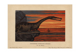 Nothosaurus Mirabilis, Extinct Sauropterygian Reptile From the Triassic Giclee Print by F. John