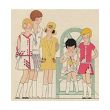 Girls in Summer Dresses Carrying a Tennis Racquet, Knitting, From Art, Gout, Beaute, 1930 Giclee Print