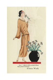 Woman in Beige Town Dress of Crepe De Rome Smelling a Flower From Art, Gout, Beaute 1923 Giclee Print