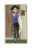 Woman in Chinese Black Satin Dress with Blue Satin Embroidered Top From Art, Gout, Beaute 1923 Giclee Print