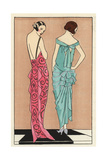 Evening Dress with Train in Pink Lame, And Dinner Dress in Green From Art, Gout, Beaute 1923 Giclee Print