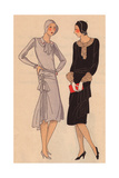 Afternoon Dresses in Grey Crepe And in Glossy Panne From Art, Gout, Beaute, 1928 Giclee Print