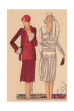 Woman in Sports Dress And Coat, And Woman in Afternoon Dress in Crepe From Art, Gout, Beaute, 1930 Giclee Print