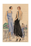 Blue Satin Afternoon Dress And Taffeta Evening Dress with Plunge Back From Art, Gout, Beaute, 1928 Giclee Print