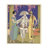 Fashionable Women in Chic Dresses in Crepe And Wool From Art, Gout, Beaute 1923 Giclee Print