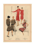 Glamorous Printed Chiffon Dress, Crepe And Lace Dress, And Crepe Dress From Art, Gout, Beaute 1928 Giclee Print