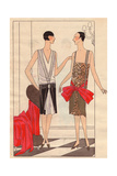 Afternoon Dress in Velvet And Diamante And Evening Dress in Lame From Art, Gout, Beaute, 1926 Giclee Print