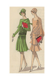 Women in Crepe Afternoon Dresses with Clutch Bags And Gloves From Art, Gout, Beaute, 1930 Giclee Print