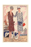 Women in Afternoon Dresses Before Classic Car And Sailing Ship From Art, Gout, Beaute, 1926 Giclee Print