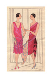 Pink Evening Dress with Feathers, And Velvet Evening Dress with Lace From Art, Gout, Beaute, 1926 Giclee Print