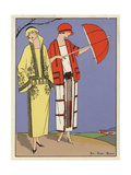 Woman in Mustard Velvet Suit, And Woman in White Serge Dress From Art, Gout, Beaute 1923 Giclee Print
