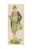 Woman in Pale Green Afternoon Ensemble in Printed Crepe De Chine From Art, Gout, Beaute, 1930 Giclee Print