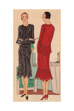 Afternoon Dress in Polka-dot Panne And Afternoon Dress in Red Crepe From Art, Gout, Beaute, 1930 Giclee Print