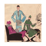 Afternoon Dress in Blue Crepe And in Wool with Fur Trim From Art, Gout, Beaute 1926 Giclee Print