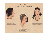 Fashionable Hats: Black Beret, Straw Hat And Black Satin Toque Cap From Art, Gout, Beaute, 1930 Giclee Print